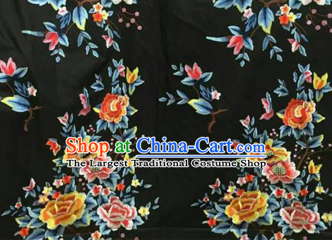 Asian Traditional Fabric Classical Peony Pattern Black Watered Gauze Brocade Chinese Satin Silk Material