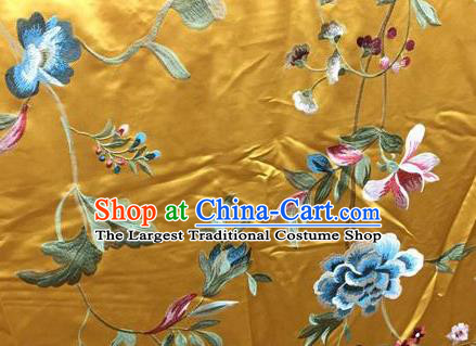 Asian Traditional Fabric Classical Embroidered Peony Pattern Yellow Watered Gauze Brocade Chinese Satin Silk Material