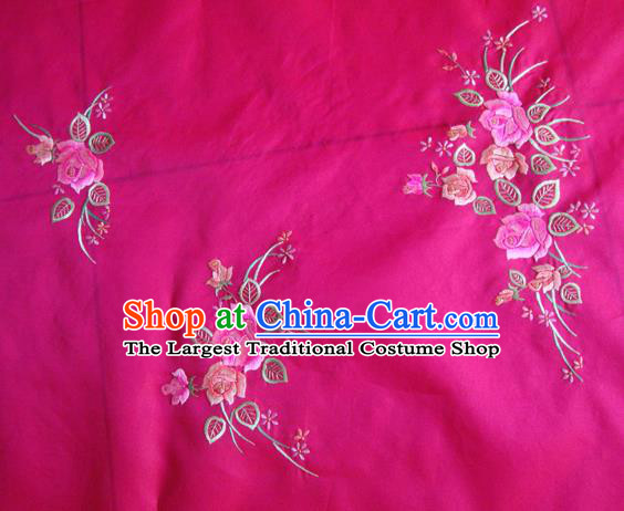 Asian Traditional Fabric Classical Embroidered Peony Pattern Rosy Watered Gauze Brocade Chinese Satin Silk Material