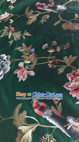Asian Traditional Fabric Classical Embroidered Peony Birds Pattern Green Brocade Chinese Satin Silk Material