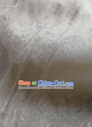 Asian Traditional Fabric Classical Embroidered Pattern White Brocade Chinese Satin Silk Material