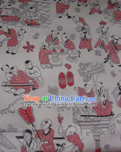 Asian Traditional Fabric Classical Pattern White Brocade Chinese Satin Silk Material