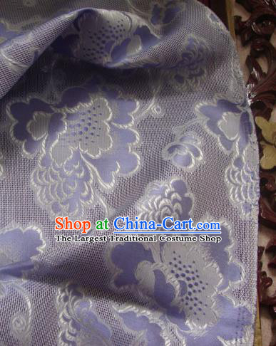 Asian Traditional Fabric Classical Peony Pattern Purple Brocade Chinese Satin Silk Material