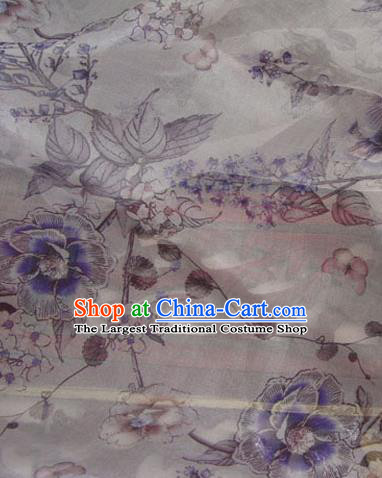 Asian Traditional Fabric Classical Peony Pattern Watered Gauze Brocade Chinese Satin Silk Material