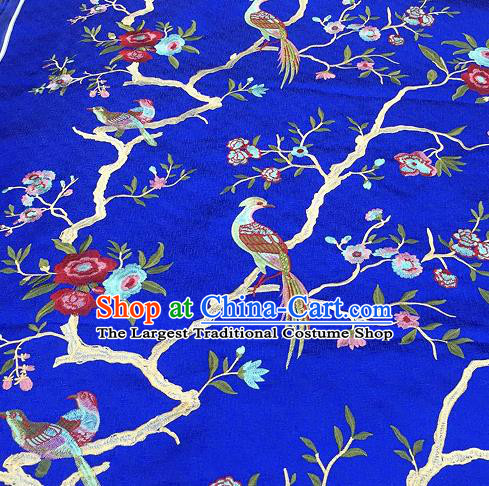 Asian Traditional Fabric Classical Embroidered Bird Flowers Pattern Blue Brocade Chinese Satin Silk Material