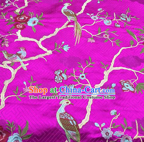Asian Traditional Fabric Classical Embroidered Bird Flowers Pattern Rosy Brocade Chinese Satin Silk Material