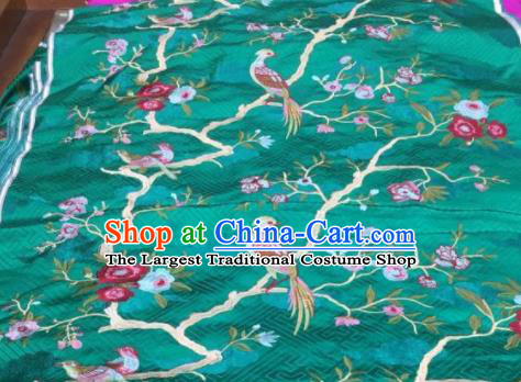 Asian Traditional Fabric Classical Embroidered Bird Flowers Pattern Green Brocade Chinese Satin Silk Material