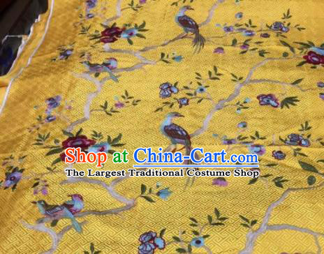Asian Traditional Fabric Classical Embroidered Bird Flowers Pattern Yellow Brocade Chinese Satin Silk Material