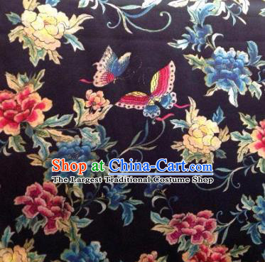 Asian Traditional Fabric Classical Butterfly Flowers Pattern Black Brocade Chinese Satin Silk Material
