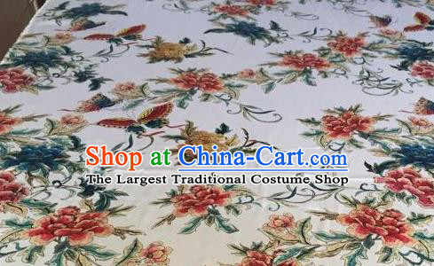 Asian Traditional Fabric Classical Butterfly Flowers Pattern White Brocade Chinese Satin Silk Material