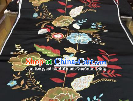 Asian Traditional Fabric Classical Peony Pattern Black Brocade Chinese Satin Silk Material