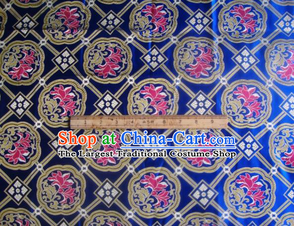Asian Traditional Fabric Classical Lotus Pattern Royalblue Brocade Chinese Satin Silk Material