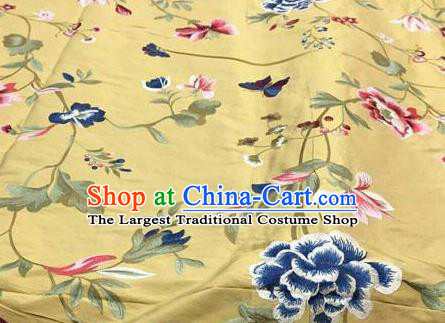Asian Traditional Fabric Classical Embroidered Peony Butterfly Pattern Yellow Brocade Chinese Satin Silk Material
