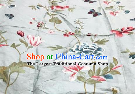 Asian Traditional Fabric Classical Embroidered Peony Butterfly Pattern Blue Brocade Chinese Satin Silk Material