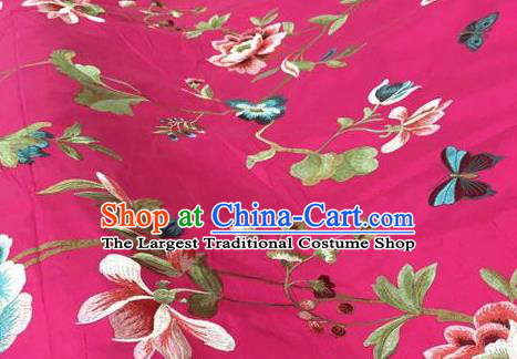 Asian Traditional Fabric Classical Embroidered Peony Butterfly Pattern Rosy Brocade Chinese Satin Silk Material
