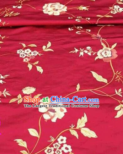 Asian Traditional Fabric Classical Embroidered Peony Pattern Red Brocade Chinese Satin Silk Material
