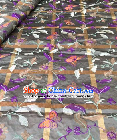 Asian Traditional Fabric Classical Embroidered Butterfly Pattern Brocade Chinese Satin Silk Material