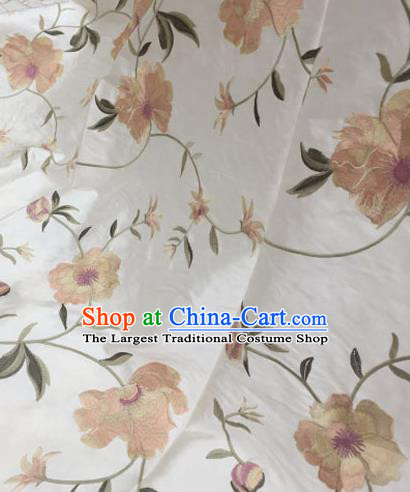 Asian Traditional Fabric Classical Embroidered Peony Pattern White Brocade Chinese Satin Silk Material