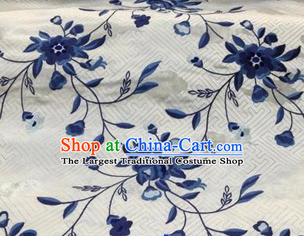 Asian Traditional Fabric Classical Embroidered Peony Flowers Pattern White Brocade Chinese Satin Silk Material