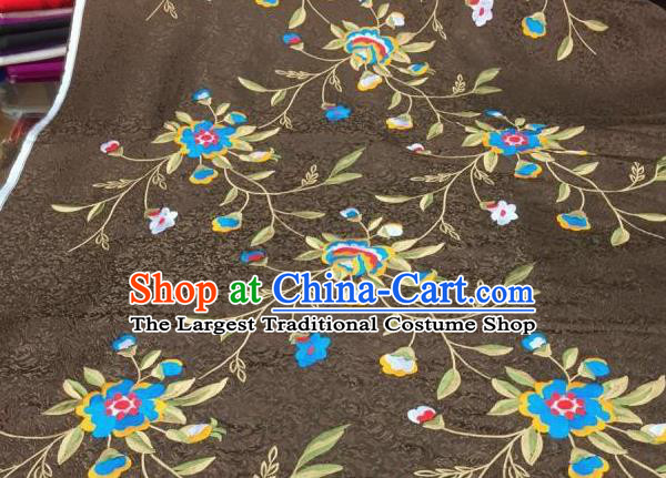 Asian Traditional Fabric Classical Embroidered Peony Flowers Pattern Brown Brocade Chinese Satin Silk Material