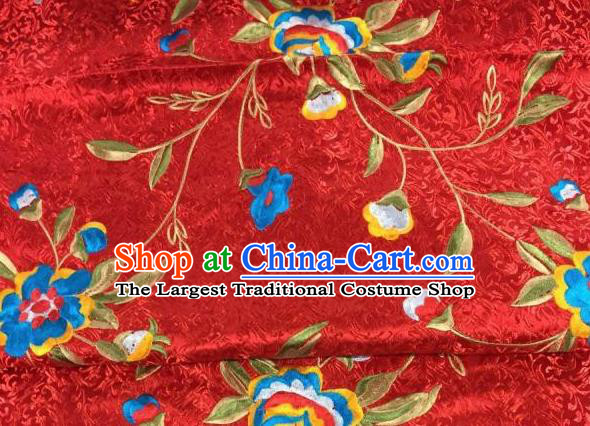 Asian Traditional Fabric Classical Embroidered Peony Flowers Pattern Red Brocade Chinese Satin Silk Material