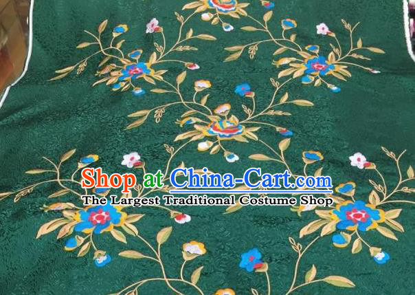 Asian Traditional Fabric Classical Embroidered Peony Flowers Pattern Green Brocade Chinese Satin Silk Material