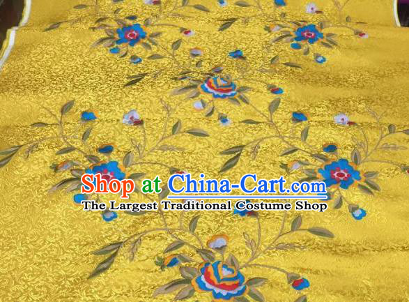 Asian Traditional Fabric Classical Embroidered Peony Flowers Pattern Yellow Brocade Chinese Satin Silk Material
