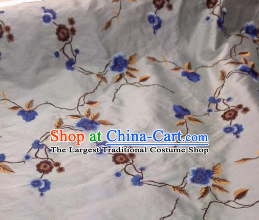 Asian Traditional Fabric Classical Embroidered Plum Blossom Pattern White Brocade Chinese Satin Silk Material