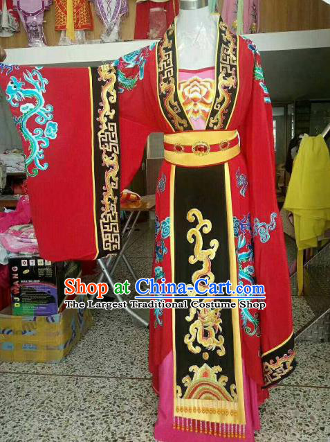 Chinese Traditional Beijing Opera Queen Embroidered Red Dress Ancient Empress Costume for Women
