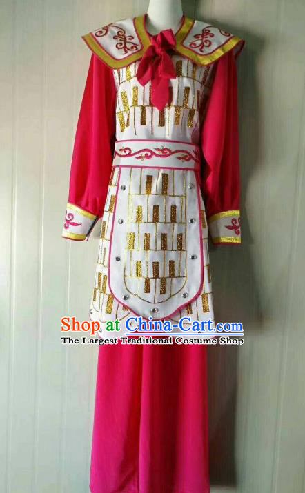 Chinese Traditional Beijing Opera Swordswoman Rosy Dress Peking Opera Blues Costume for Women