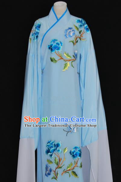 Chinese Traditional Beijing Opera Niche Blue Robe Peking Opera Scholar Embroidered Costume for Men
