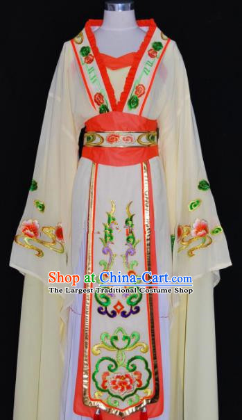 Chinese Traditional Beijing Opera Actress Yellow Dress Peking Opera Princess Embroidered Costume for Women