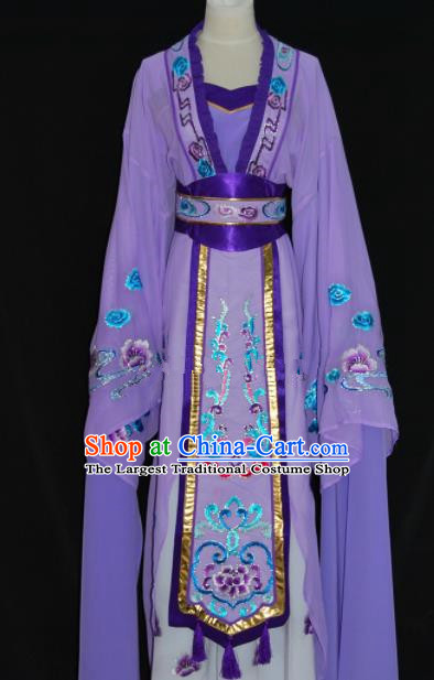 Chinese Traditional Beijing Opera Actress Purple Dress Peking Opera Princess Embroidered Costume for Women