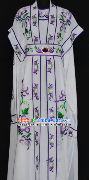Chinese Traditional Beijing Opera Niche Embroidered White Robe Peking Opera Scholar Costume for Men
