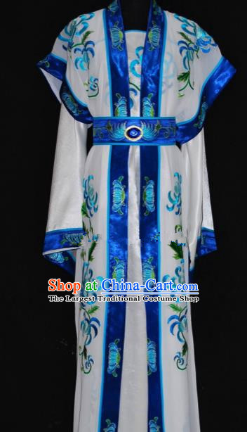 Chinese Traditional Beijing Opera Niche Embroidered Blue Robe Peking Opera Scholar Costume for Men