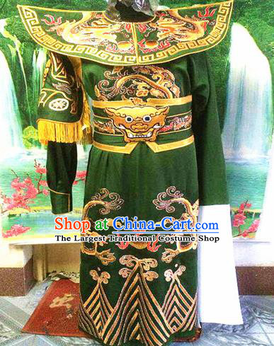 Chinese Traditional Beijing Opera Warrior Embroidered Green Clothing Peking Opera Takefu Costume for Men