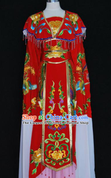 Chinese Traditional Beijing Opera Peri Red Dress Peking Opera Princess Embroidered Costume for Women
