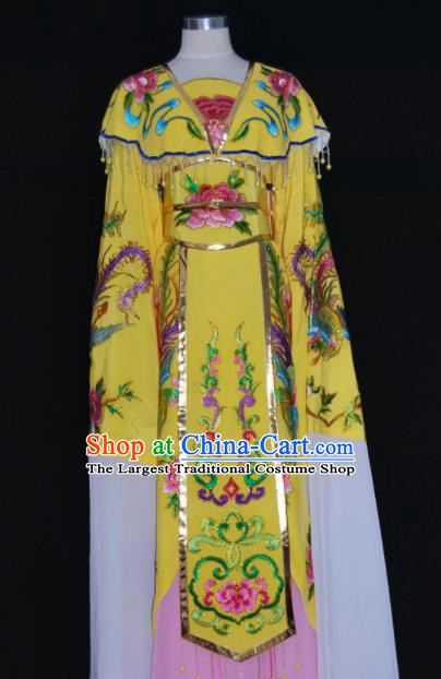 Chinese Traditional Beijing Opera Peri Yellow Dress Peking Opera Princess Embroidered Costume for Women