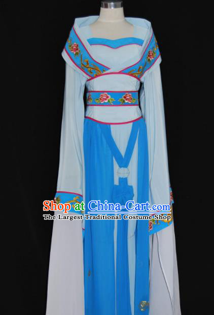 Chinese Traditional Beijing Opera Princess Blue Dress Ancient Peri Embroidered Costume for Women