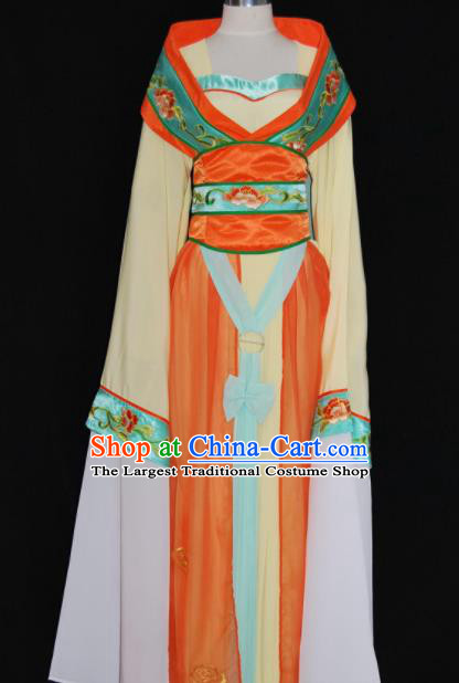 Chinese Traditional Beijing Opera Princess Orange Dress Ancient Peri Embroidered Costume for Women