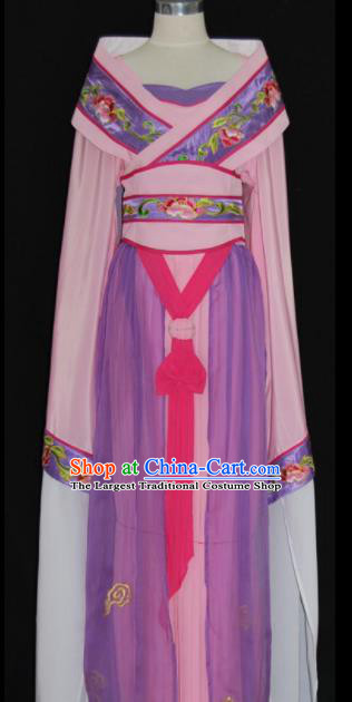 Chinese Traditional Beijing Opera Princess Purple Dress Ancient Peri Embroidered Costume for Women