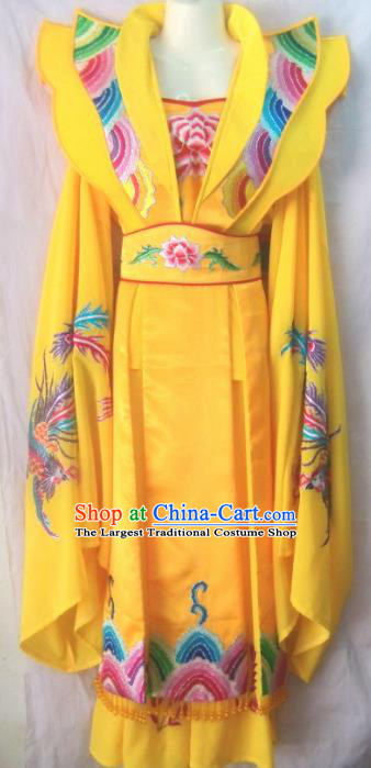 Chinese Traditional Beijing Opera Court Yellow Dress Ancient Queen Embroidered Costume for Women