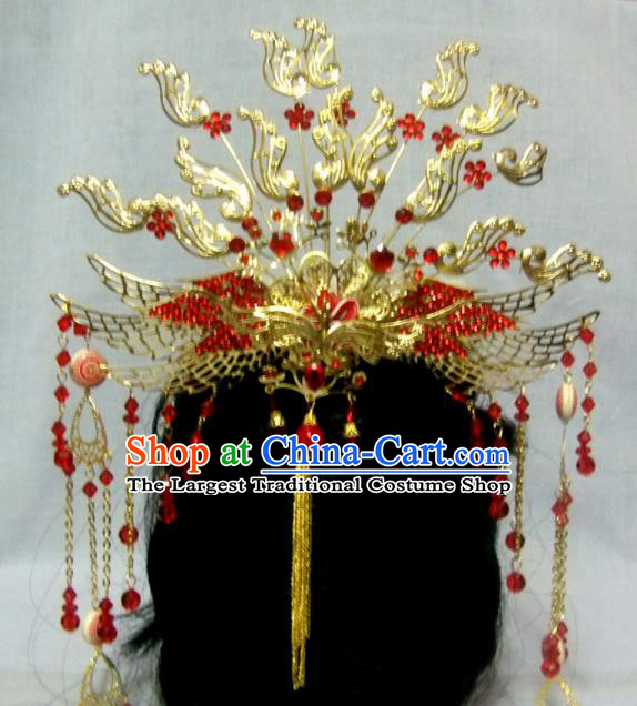 Chinese Traditional Beijing Opera Princess Hair Accessories Ancient Bride Golden Phoenix Hairpins Headwear for Women