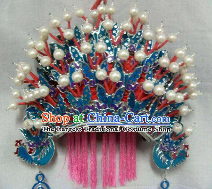 Chinese Traditional Beijing Opera Bride Phoenix Coronet Hair Accessories Ancient Female General Headwear for Women