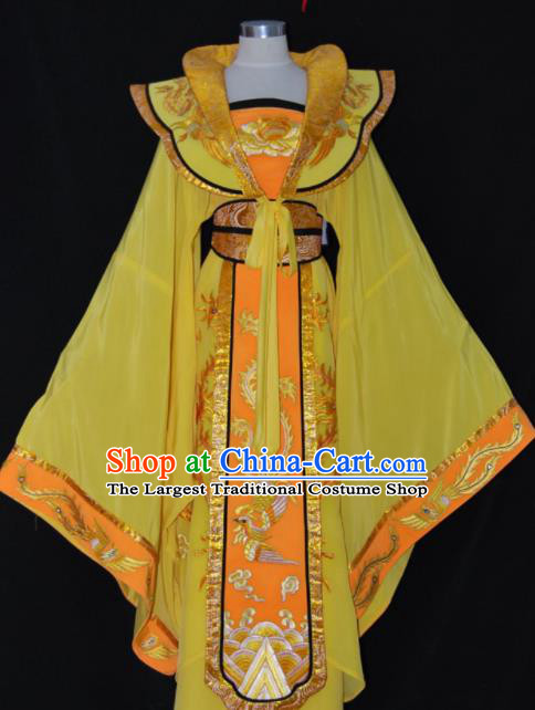 Chinese Traditional Beijing Opera Empress Yellow Dress Ancient Queen Embroidered Costume for Women