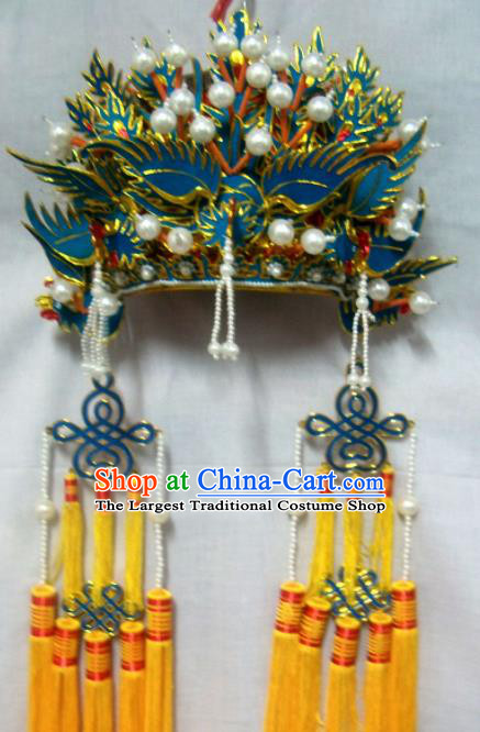 Chinese Traditional Beijing Opera Pantaloon Phoenix Coronet Hair Accessories Ancient Female General Headwear for Women