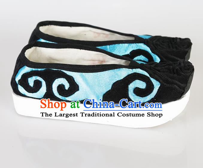 Traditional Chinese Beijing Opera Pantaloon Embroidered Shoes Ancient Hanfu Blue Shoes for Women