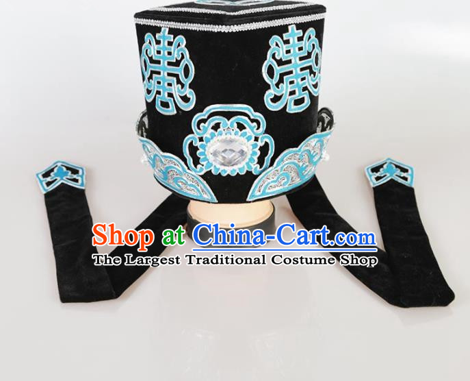Chinese Traditional Beijing Opera Rich Man Hat Ancient Ministry Councillor Headwear for Men