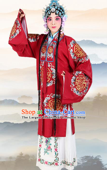 Chinese Traditional Beijing Opera Pantaloon Red Dress Ancient Landlord Shiva Embroidered Costume for Women