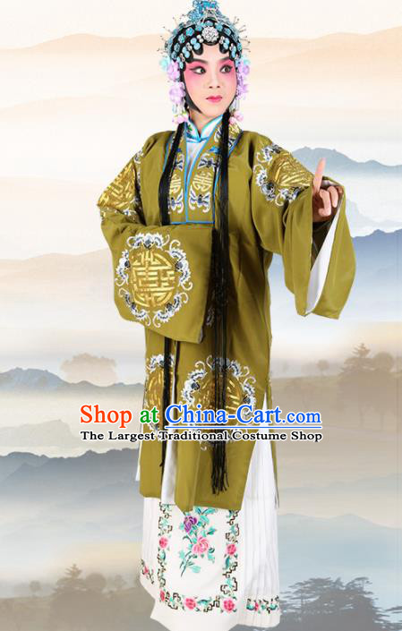 Chinese Traditional Beijing Opera Pantaloon Green Dress Ancient Landlord Shiva Embroidered Costume for Women